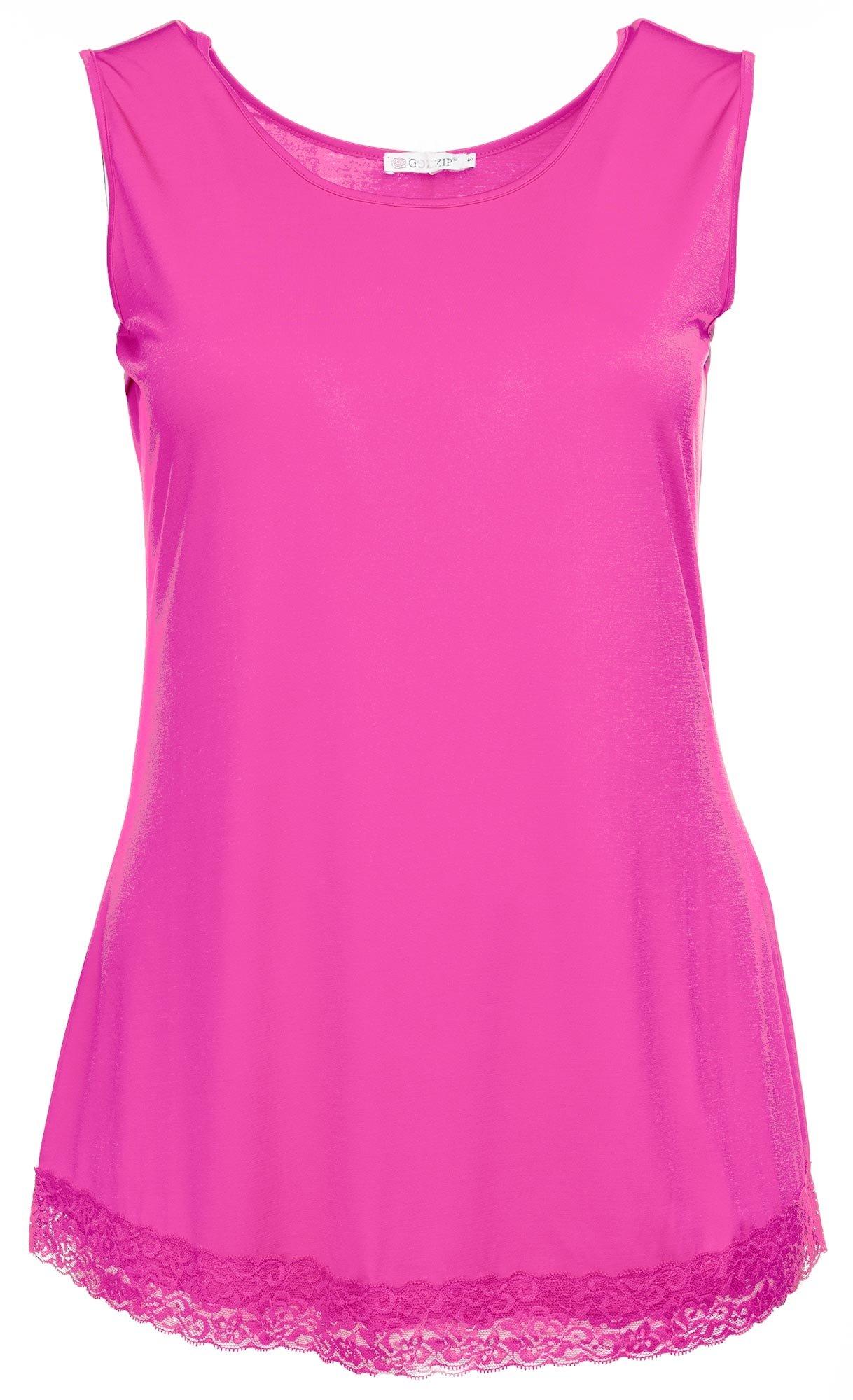 Pink topp i kort modell med fin blondekant