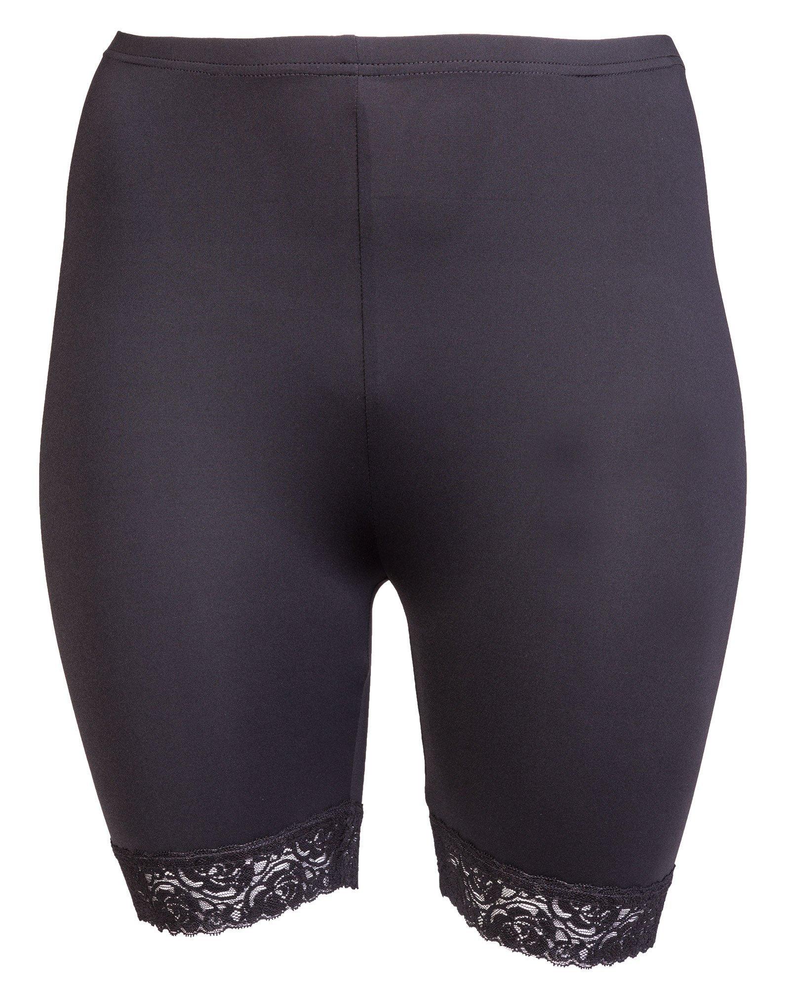 Myke bukser i mikrofiber med fin blondekant
